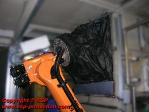 housse protection robot cover KUKA lavable rincable reparable tissu polyester TPSN usinage decoupe fenetre ASP eulmont